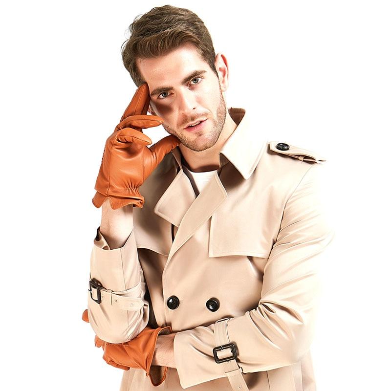 3 Harssidanzar-Mens-Classic-Luxury-Italian-Sheepskin-Leather-Gloves-Vintage-Finished-Wool-Lined-Tan