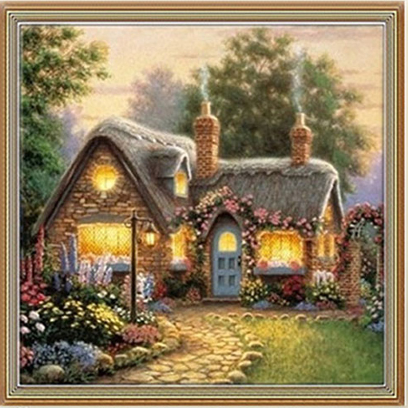 DIY 5D Painting Cabin Diamonds Embroidery Painting Cross Stitch Wall Decor