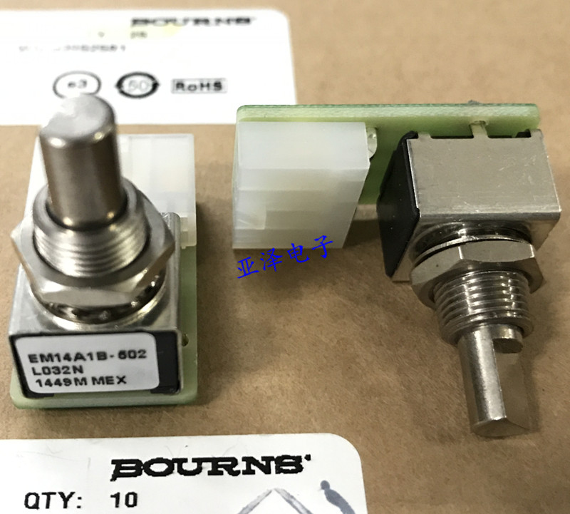 Original new 100% electrodeless potentiometer EM14A1B-502-L032N unlimited rotating potentiometer 5K resistance 360 degrees turn wh111a 1a 142 horizontal 4 feet b11k potentiometer resistance angle of 60 degrees handle length 17 5mm