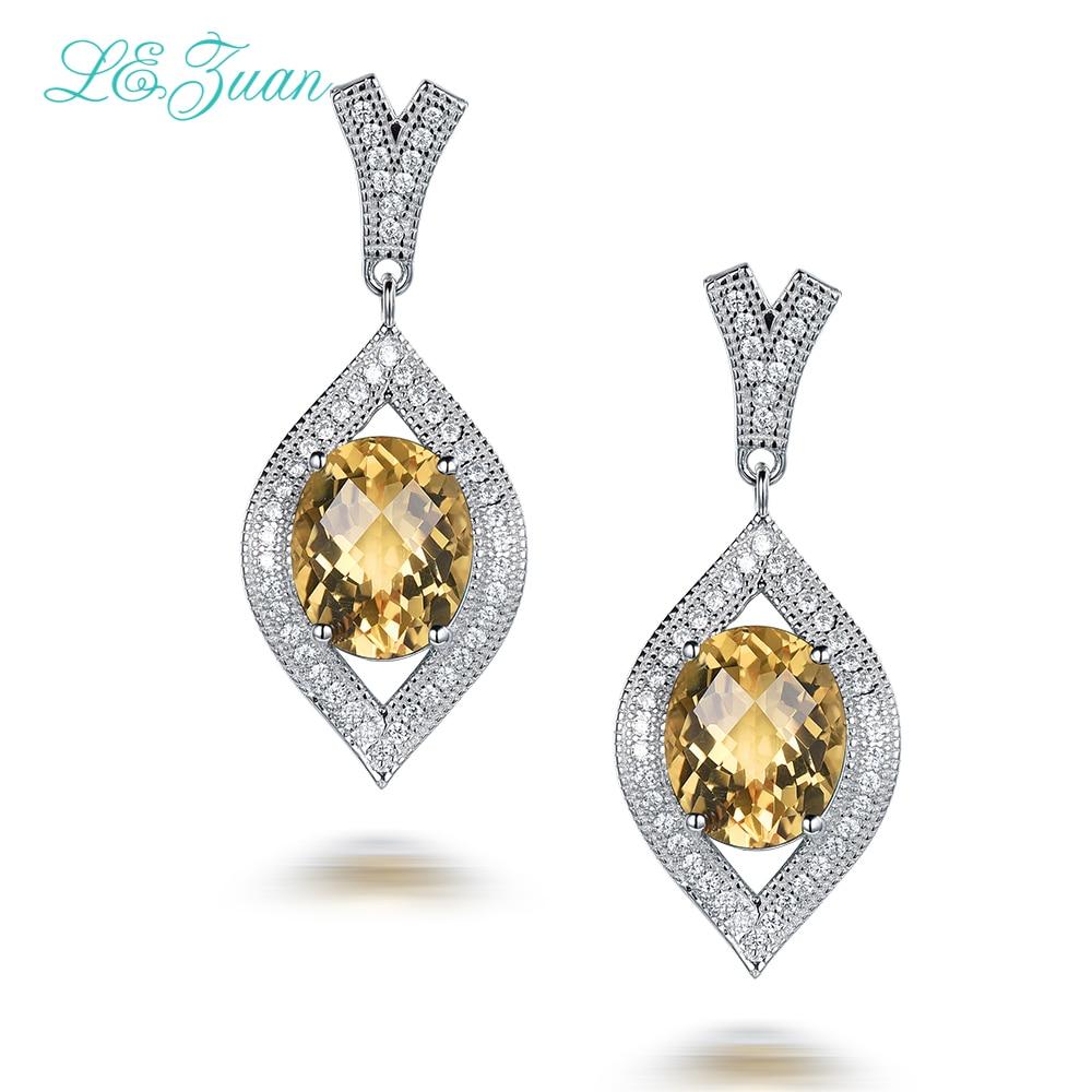L&zuan 4.71ct Natural Gemstone Citrine Earrings For Women 925 Sterling Silver Trendy Drop Earrings Fine Jewelry Bijoux E0063-W05 pair of trendy faux gemstone embellished women s earrings