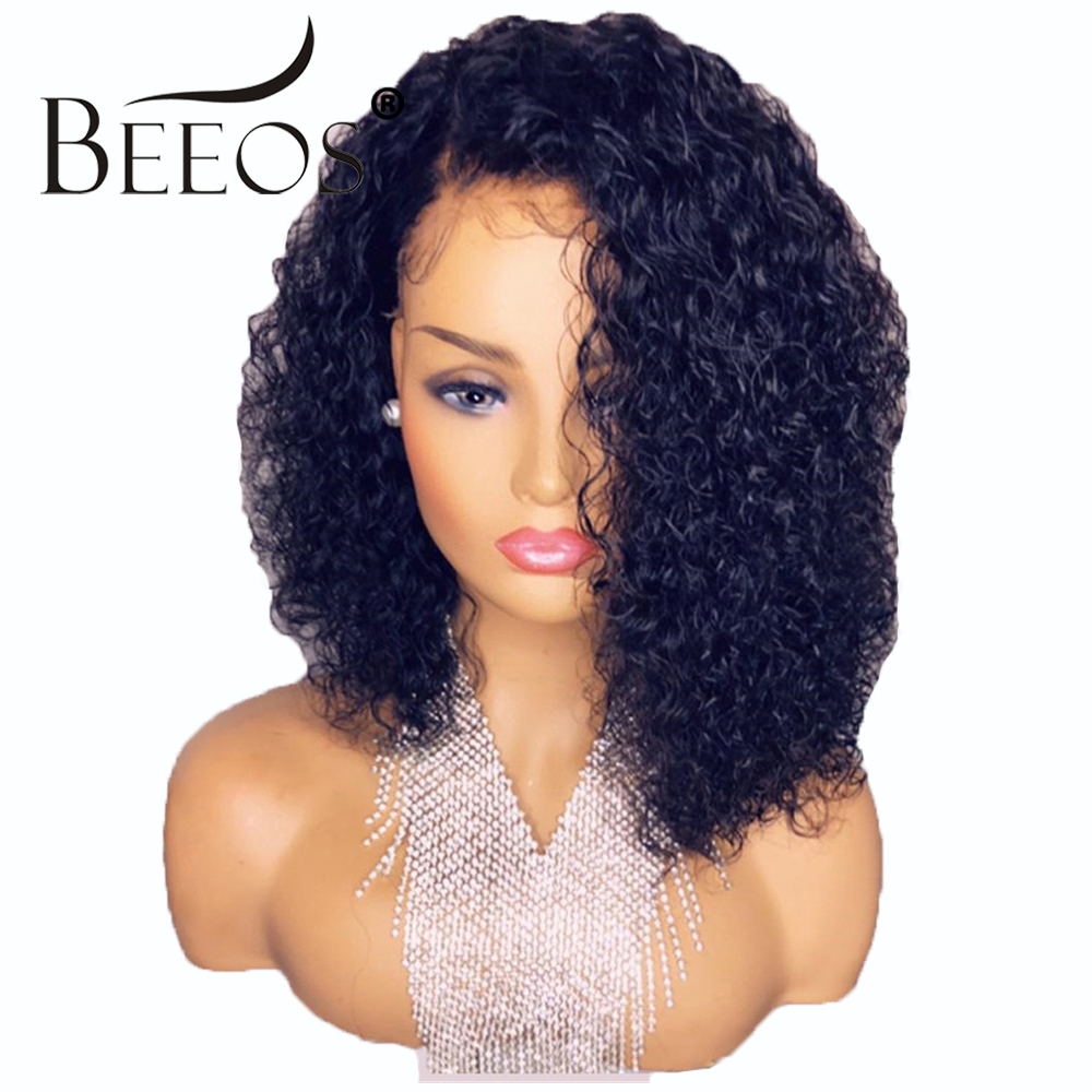 Pre Plucked Lace Front Human Hair Wigs Brazilian Hair Curly Glueless Short Bob Lace Wig with Baby Hair Full End Remy Hair Beeos