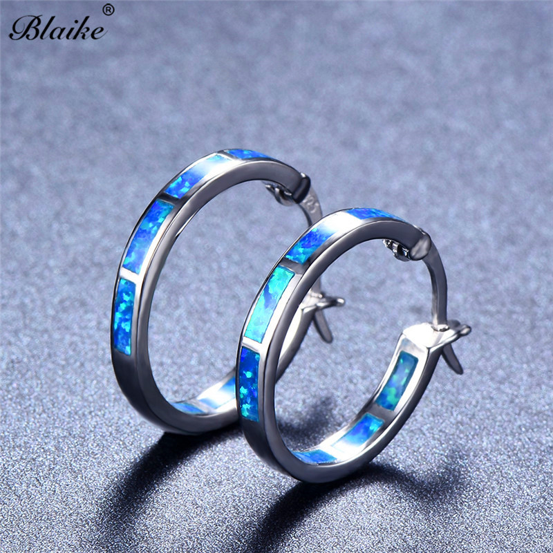 Blaike Blue White Fire Opal Big Round Hoop Earrings For Women 925 Sterling  Silver Filled e7fbbc0d3eac