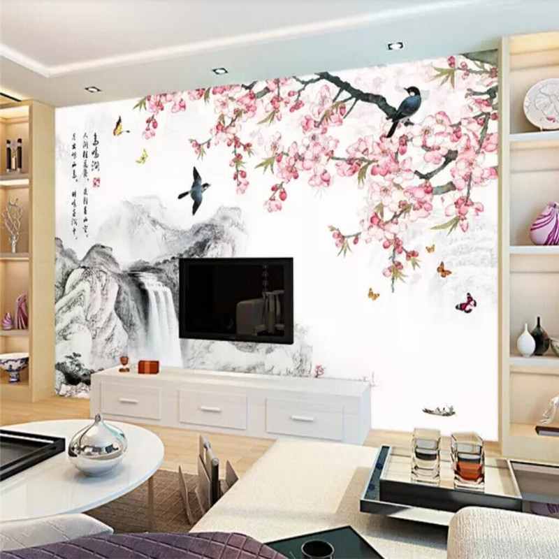Ink Landscape Living Room Chinese TV Background Wall Professional Custom High-end Mural Factory Wholesale Wallpaper Mural Photo
