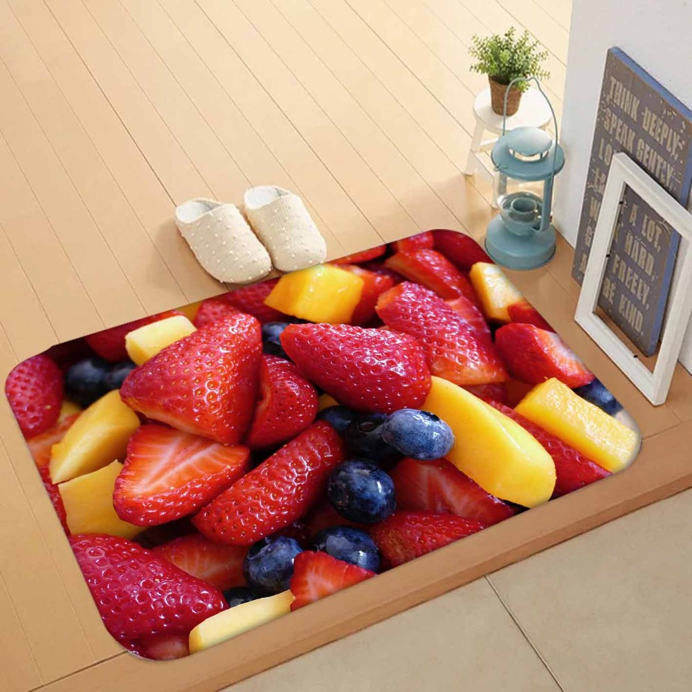 Else Red Strawberry Fruits Yellow Pineapple Fruits 3d Pattern Print Anti Slip Washable Doormat Home Decor Entryway Kitchen Mat