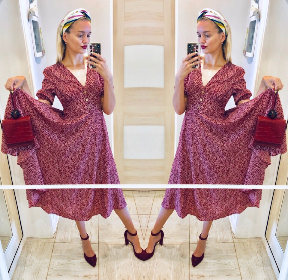 Button Front Allover Print V Neck Dress Women Posh Summer Burgundy A Line Short Sleeve Fit And Flare Dresses photo review