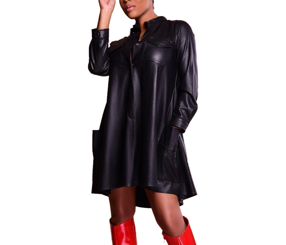 WOMEN WARDROBE Sexy Faux Leather Dress Plus Size Casual Standing Collar Long Sleeve Button Pocket Loose Midi Dress