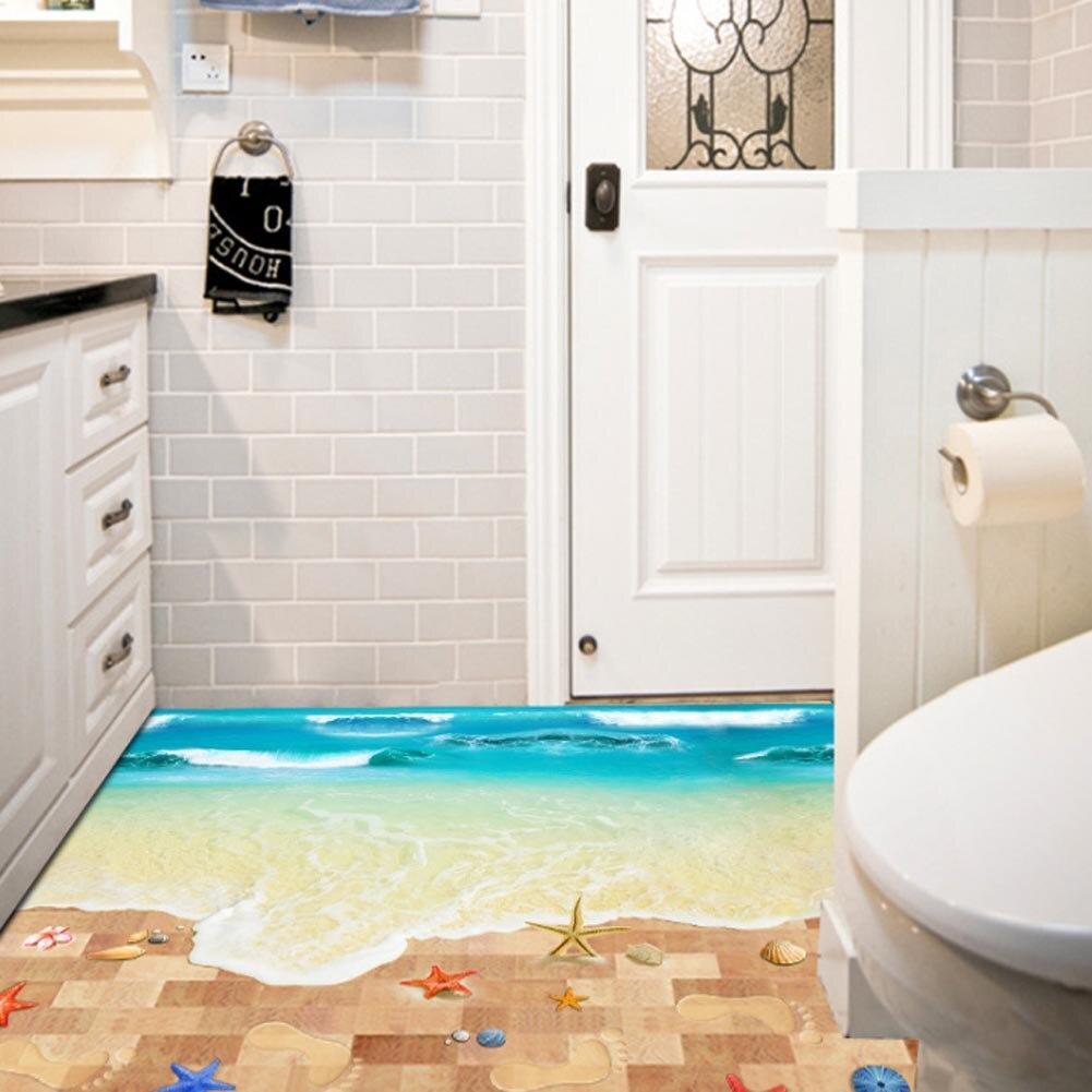 Top Selling Creative 3D Wall Stickers Starfish Footprint Beach Bathroom Floor Sticker Sea Kids Poster Cartoon Nursery Bathroom ...