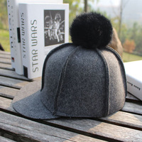 2017 New Brand Hot Sale Popular Lady Women Winter Hat Warm Hat With Ball Grey Winter