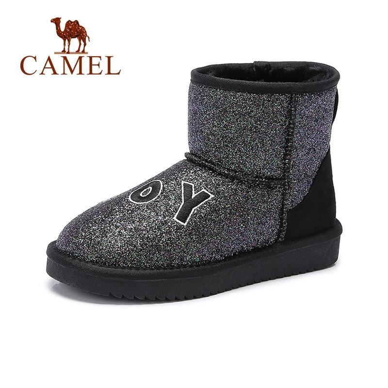 CAMEL Women Boots Shoes Winter Snow boots Shoes Women Plus Velvet Embroidery Letters Ankle boots Warm Non-slip все цены
