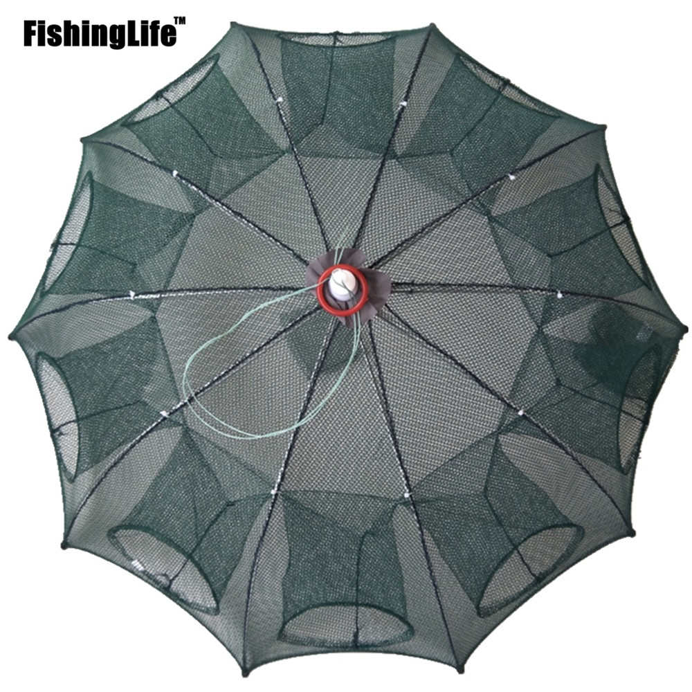 6/8/12/16 Holes Folded Portable Hexagon Fishing Net Crayfish Fish Automatic Trap Shrimp Carp Catcher Cages Mesh Nets CrabTrap