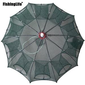 6/8/12/16 Holes Folded Portable Hexagon Fishing Net Crayfish Fish Automatic Trap Shrimp Carp Catcher Cages Mesh Nets CrabTrap(China)