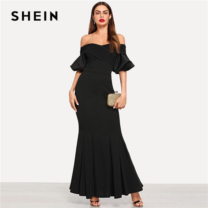 Шеин черный элегантный крест обёрточная бумага Bardot средства ухода за кожей Шеи рыбий хвост с открытыми плечами платье новый летний макси