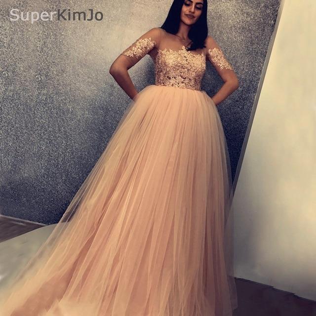 SuperKimJo Pregnant Prom Dresses 2019 Nude Pink Tulle Lace Applique Beaded  Prom Gown Vestido De Festa 704088917c85