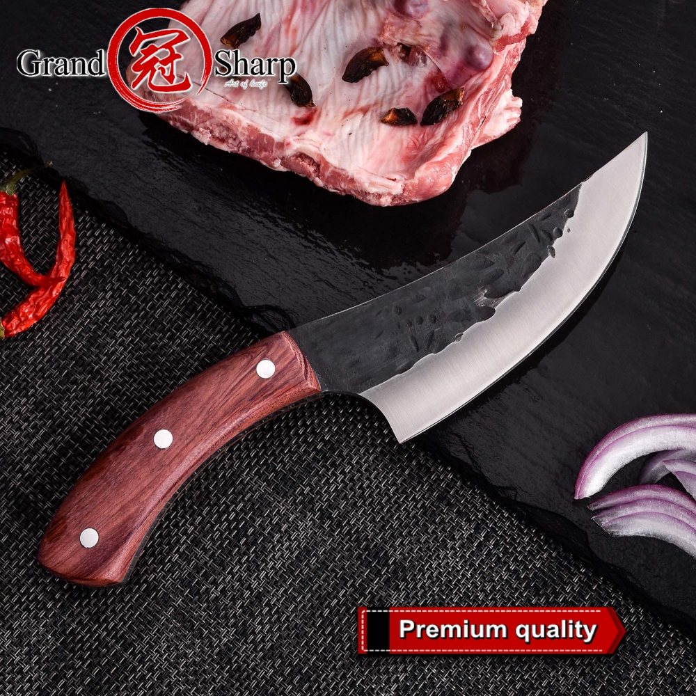 Boning Knife Hammered Bbq-Tools Kitchen-Knives Chef Meat-Cleaver Forged Butcher Handmade