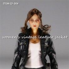 Toys Hobbies 1/6 Scale girls clothes Accessories CF-004 Women's vintage Leather Jacket Coat Retro  Black Suit 12 female blouses цена