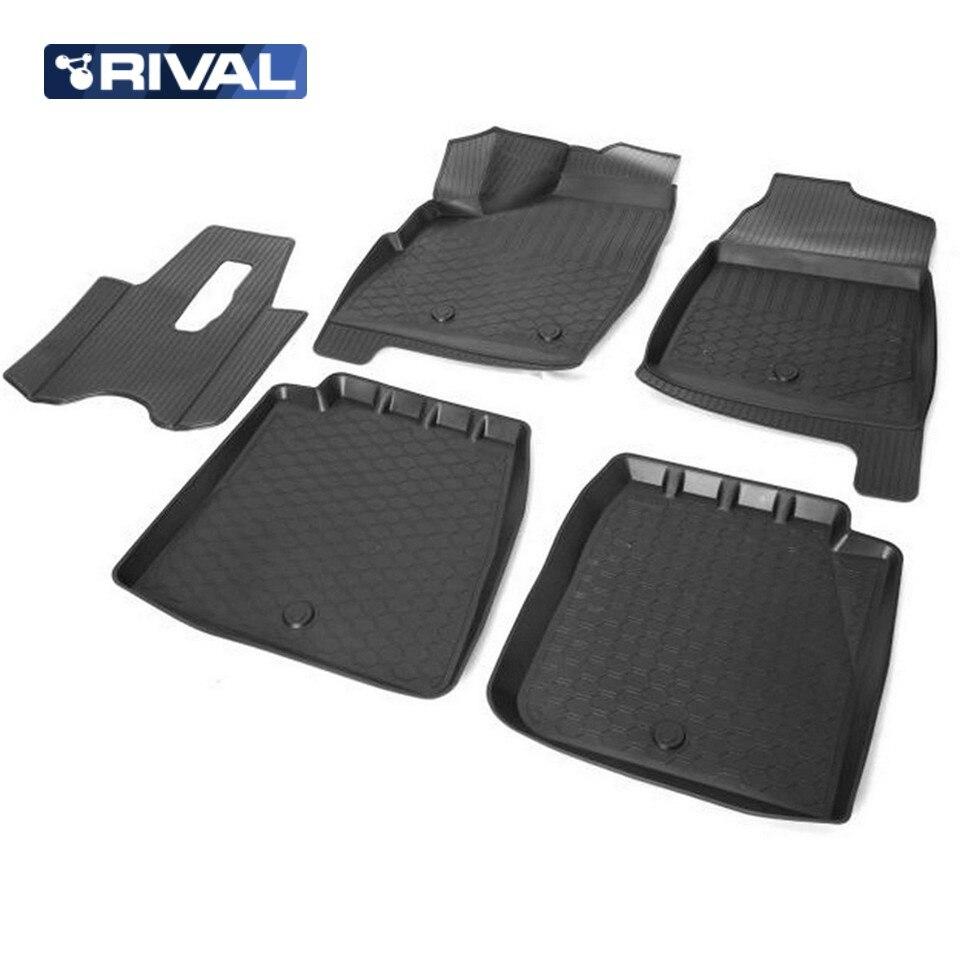 цена на For Lada Niva 4x4 5-doors 2131 3D floor mats into saloon 5 pcs/set Rival 16005003