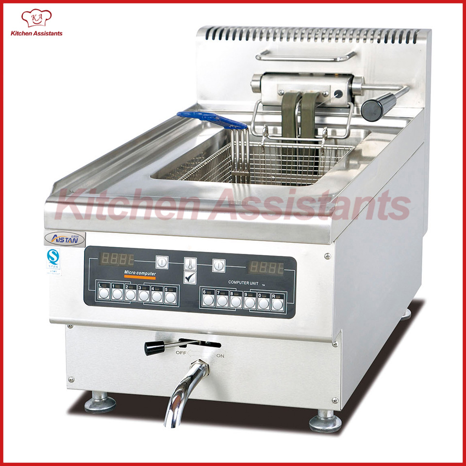 EH645A Electric Fryer with 1 tanks 1 baskets with computer control panel df33a luxury electric computer fryer with 1 tank 2 baskets with oil filter cart