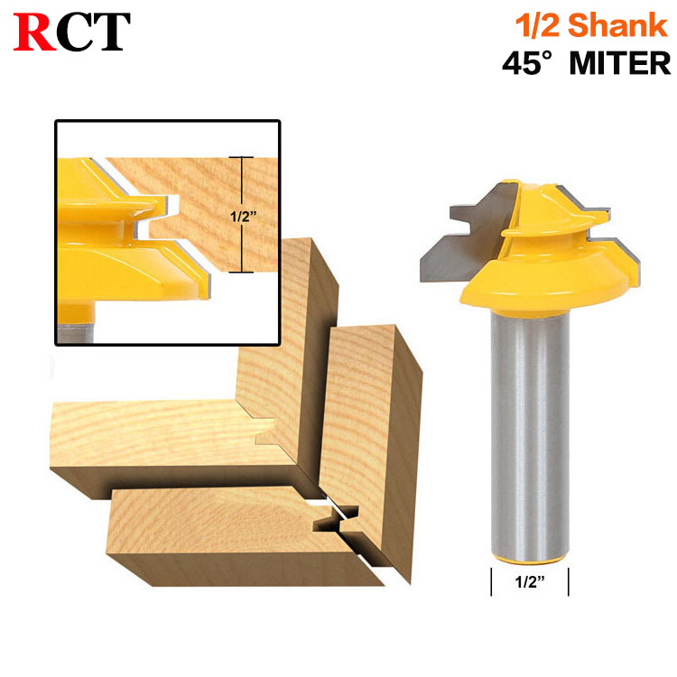 Small Lock Miter Router Bit - 45 Degree - 1/2 Stock - 1/2 Shank Tenon Cutter for Woodworking Tools-RCT15290 high grade carbide alloy 1 2 shank 2 1 4 dia bottom cleaning router bit woodworking milling cutter for mdf wood 55mm mayitr