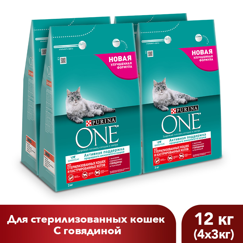 Dry feed Purina ONE for sterilised cats with beef and wheat, 12 kg. gorgeous 50cm length golden thick braided wheat chain necklace for men