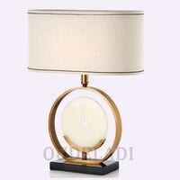 Современный минималистский круговой кольцо мраморный ткань абажурная настольная светильники Декоративное гостиная кровать Американский