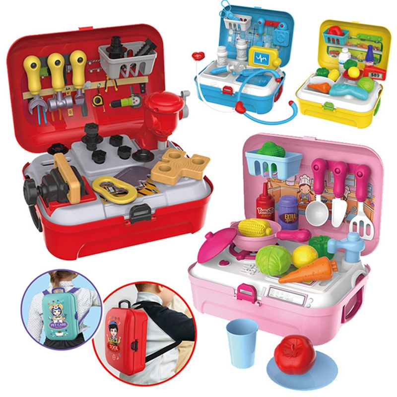 17/18/20/21/26PCS Pretend Play Children Toys w/ Backpack Doc
