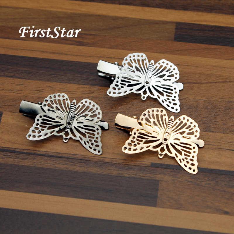 FirstStar Lucu Hairwear Hairgrips Perak Emas Berongga Logam Punk Kupu-kupu Klip Jepit Rambut Untuk Wanita Gadis Aksesoris Rambut