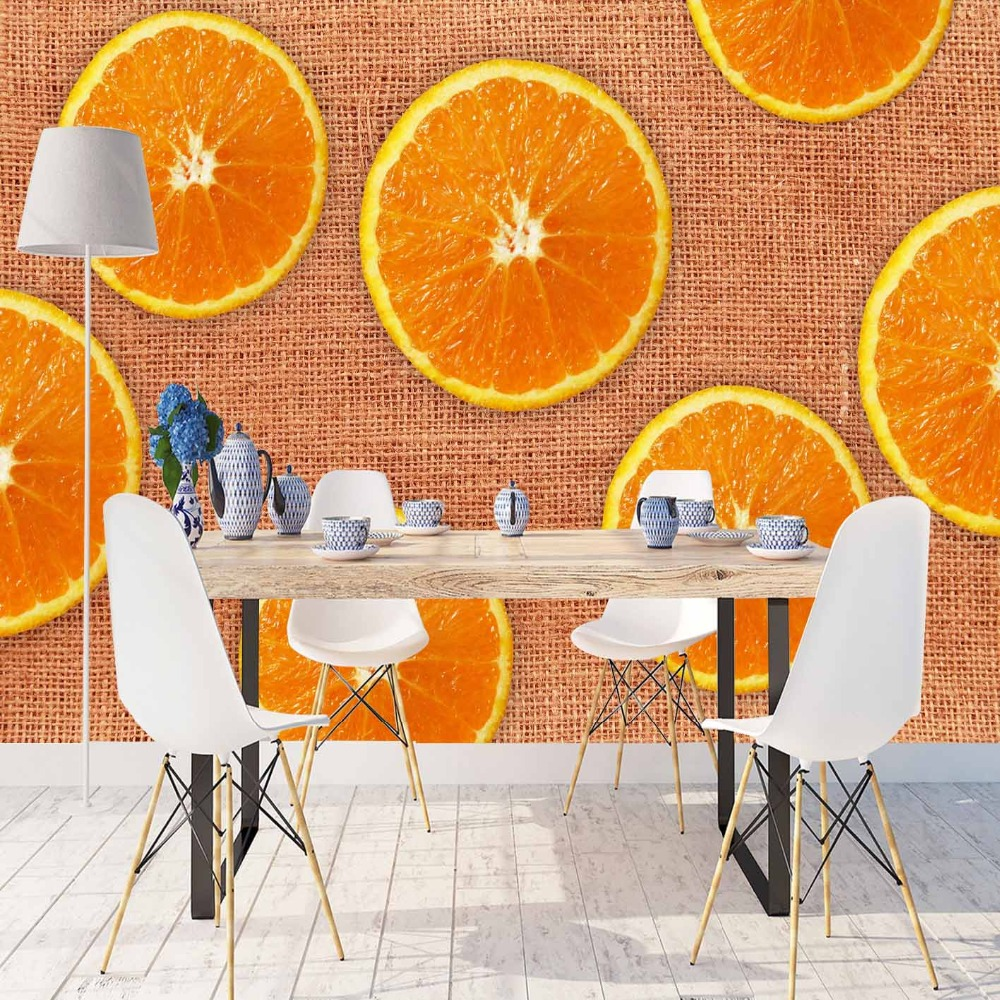 Else Brown Wicker On Slice Of Orange Fruits 3d Print Photo Cleanable Fabric Mural Home Decor Kitchen Background Wallpaper