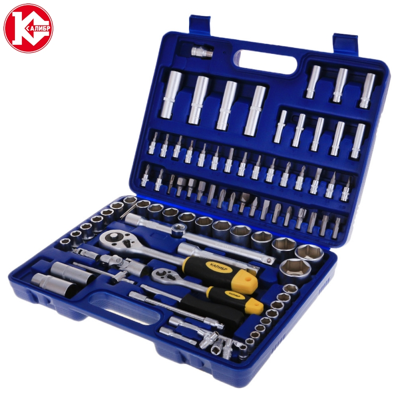 Kalibr NSM-94, 94pc Spanner Socket Set Car Vehicle Motorcycle Repair Ratchet Wrench Set Cr-v hand tools newacalox multitool pliers pocket knife screwdriver set kit adjustable wrench jaw spanner repair survival hand multi tools mini
