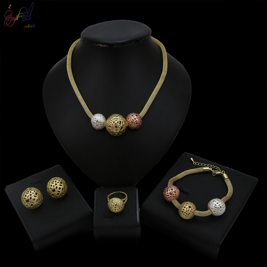 YULAILI New Three Beads Jewelry Sets Wedding Fashion Bridal African Pure Gold Color Necklace Earrings Bracelet Ring SetYULAILI New Three Beads Jewelry Sets Wedding Fashion Bridal African Pure Gold Color Necklace Earrings Bracelet Ring Set