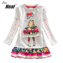 NEAT Girl long sleeves dress white cotton girl party fashion cartoon girl princess dress sweet cute style Dress the girl LH3660*