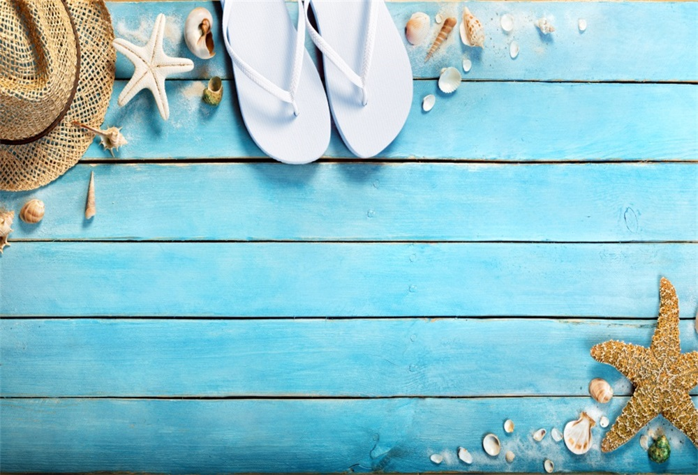 Laeacco Sea Shell Starfish Blue Wooden Boards Baby Photography Backgrounds Customized Photographic Backdrops For Photo Studio