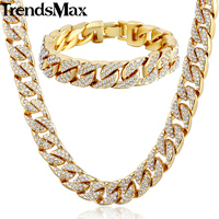 Trendsmax Hiphop Miami Curb Cuban Womens Mens Necklace Bracelet Jewelry Set Iced Out Gold Silver Color 14mm GS259