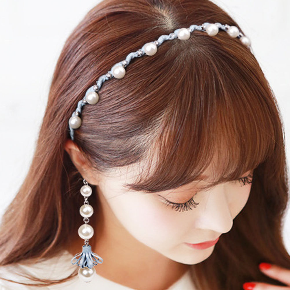 Fashion Fake Earring Wave Hairbands women girls Pearl hair hoop head band Fresh sweet Korean version headdress headwear
