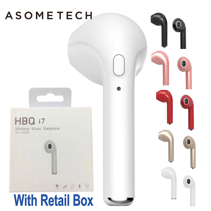 HBQ I7 TWS Wireless Earphone Bluetooth Headset In-Ear Invisible Earbud With Mic For iPhone 7 Plus 8 6 6S 5 S 5S Samsung S8 note8 hena earphones i7 mini i7 bluetooth wireless headphones headset with mic stereo bluetooth earphone for iphone 8 7 plus 6s