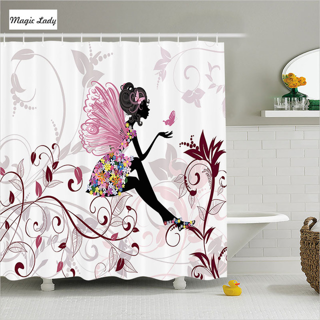 Shower Curtains For Girls Bathroom Accessories Teen Fairy Flower Butterflies Wings Pink Black White Home Decor