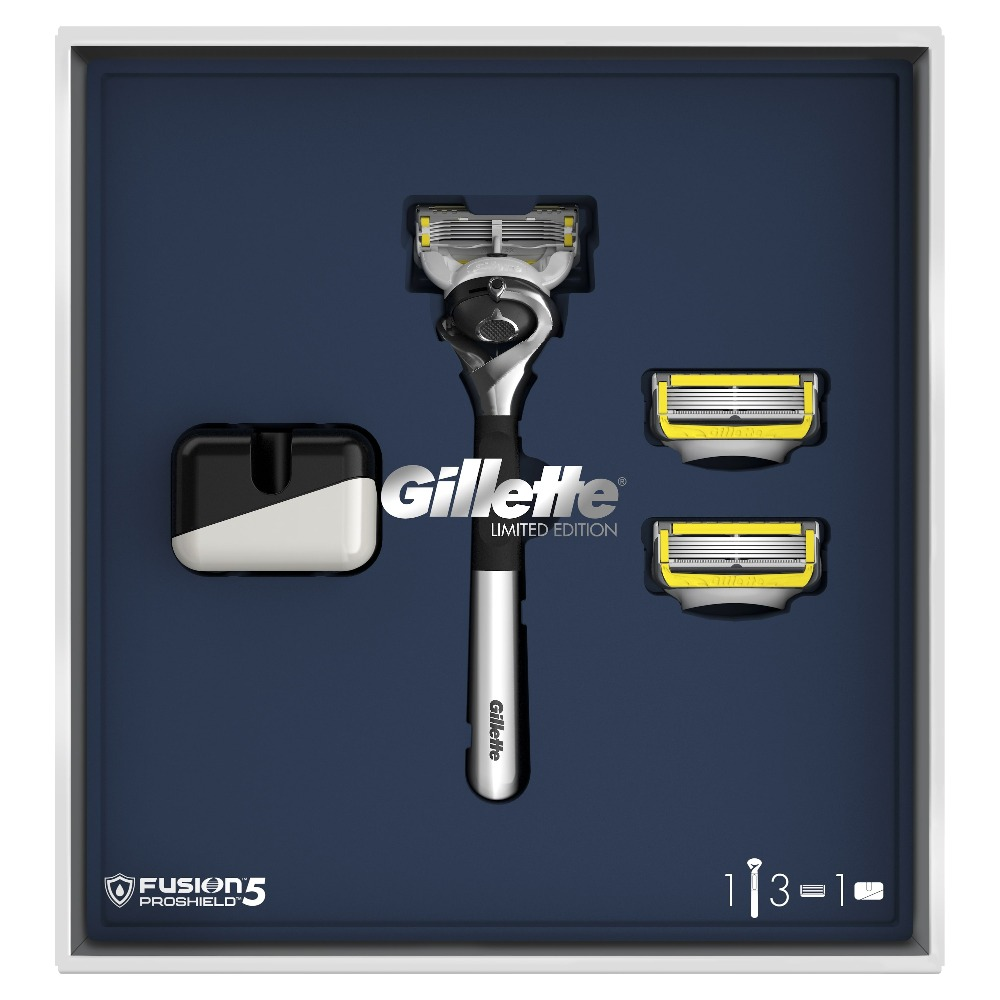 Gillette Fusion5 ProShield Gift Set Limited Edition with Chrome Handle (Razor + 3 Replaceable Cassettes + Stand) наушники sony mdr ex450 silver