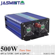 500W Off Grid Pure Sine Wave Inverter, 60V/72V DC to AC 110V/220V Single Phase Inverter for Solar or Wind Power Inverter