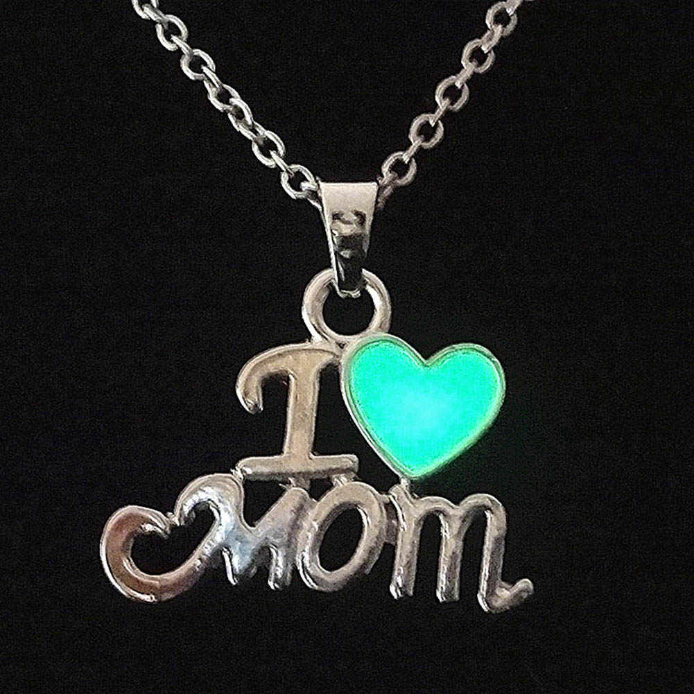 Mothers Day Gifts For Mom Luminous Jewelry Daughter & Best Mom Love Heart I love Mom Chic Punk Glow In Dark Pendant Necklace