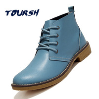 TOURSH Casual Shoes Woman Boots Flat Ankle Boots For Women Autumn Spring Blue Leather Boots For