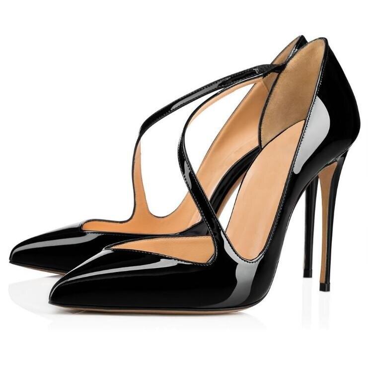 As as Bombas Zapatos Tacones Mujeres Cruz Charol De Picture Negro patchwork Punta Personalizado Picture Desnudos Vestir Correas Corte Las cZwpRcqC