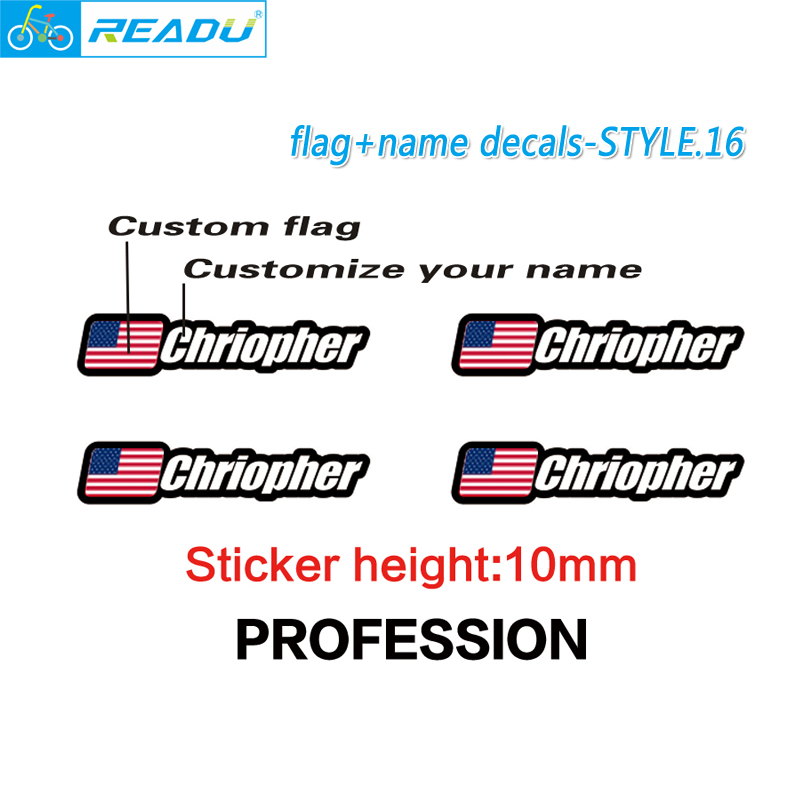 Flag and name stickers custom mountain bike frame logo personal name decals custom rider ID sticker bicycle STYLE.16 2018 new brand bicycle frame stickers mtb dh cycling road ride decals bike frame decorative decals racing diy name stickers