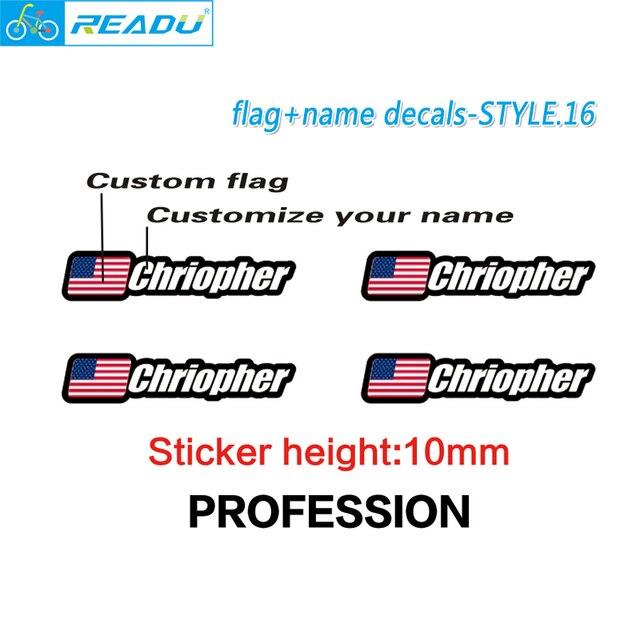 Bandera y nombre pegatinas Custom mountain bike marco logo Nombre ...