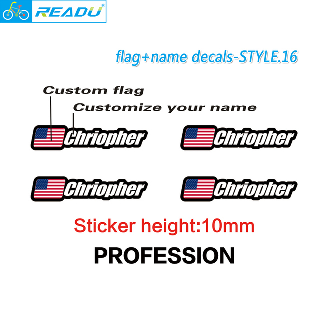 Flag and name stickers custom mountain bike frame logo personal name decals custom rider id sticker