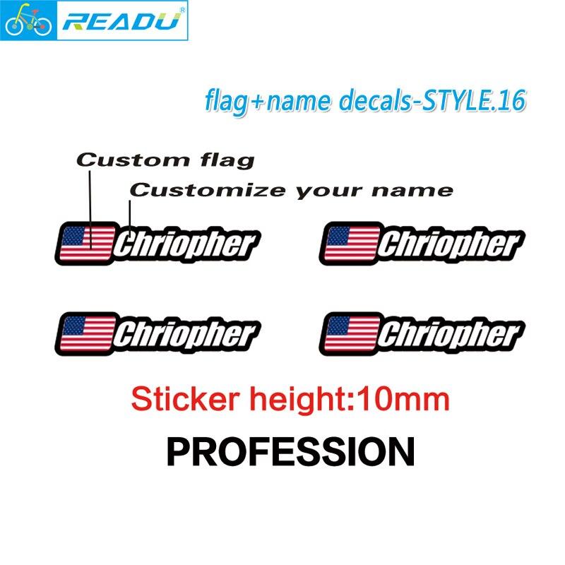Flagge und name aufkleber benutzerdefinierte mountainbike rahmen logo persönlichen namen abziehbilder benutzerdefinierte reiter ID aufkleber fahrrad STYLE.16