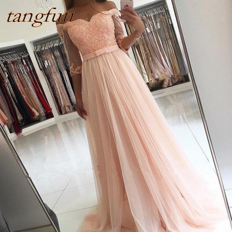Robes De bal rose longue a-ligne demi manches Tulle dentelle perlée femmes soirée Robe De bal Robe De soirée porter Robe De soirée