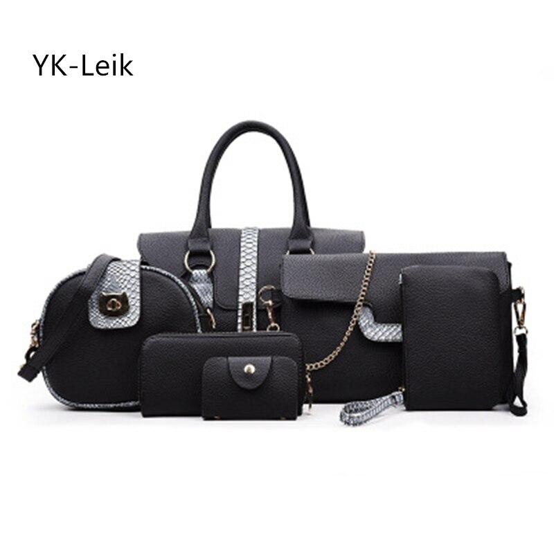 YK-Leik 2017 Alligator 6 Pcs/set Sale Women Bag Pattern Composite Shoulder bags Handbag Purse Wallet Pu Leather Handbags