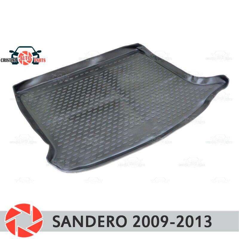 Tapis de coffre pour Renault Sandero 2009-2013 tapis de coffre tapis de sol antidérapant polyuréthane protection contre la saleté intérieur coffre style de voiture