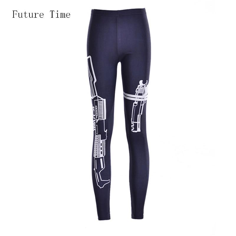 Velikost S-4XL! 2017 nove ženske dokolenke, pištola Natisnjene ženske mode moda črna Legging športne hlače gamaše tiskanje dokolenke femme seksi MH062
