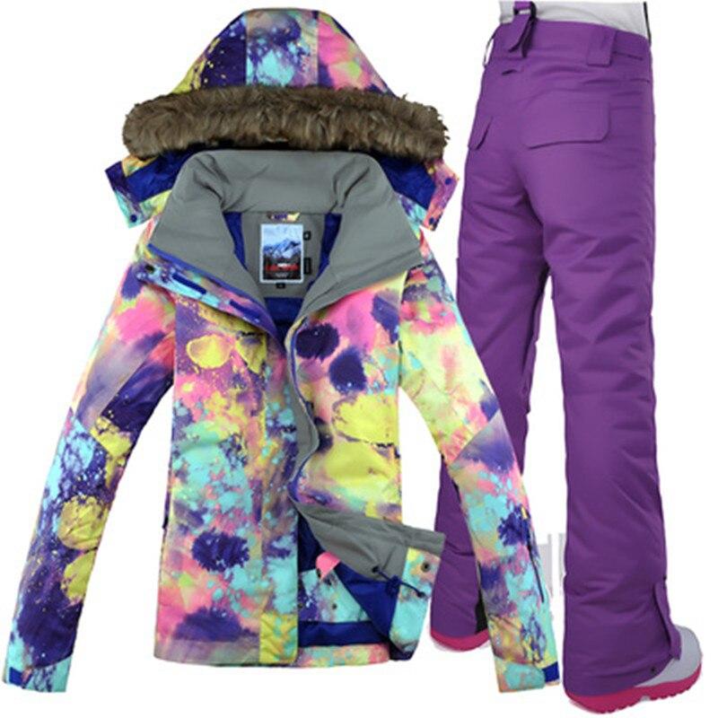 GSOU neige marque femmes veste de Ski pantalon Snowboard costume coupe-vent imperméable thermique sports de plein air porter des vêtements de Ski Snowboard