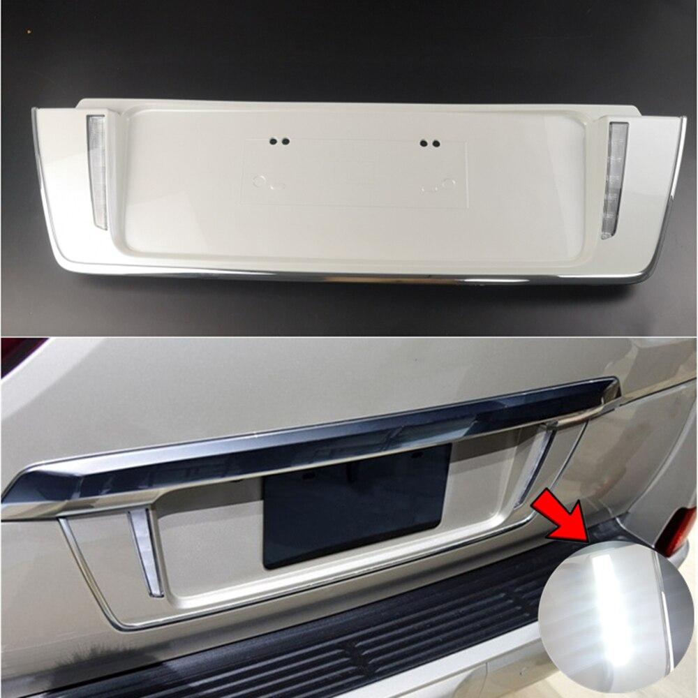 White & Black Car Rear Trunk Tailgate License Frame LED Lamp Braking Light Cover Trim For Lexus LX 570 LX570 2008-2018